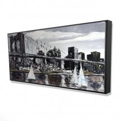 Framed 24 x 48 - 3D - Brooklyn bridge with sailboats