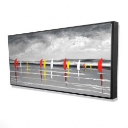 Framed 24 x 48 - 3D - Sailboats on the lake