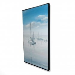 Framed 24 x 48 - 3D - Sailboats on the quiet lake