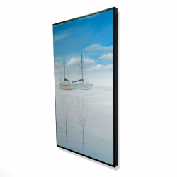 Framed 24 x 48 - 3D - Two sailboats on the quiet lake