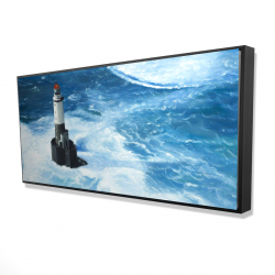 Framed 24 x 48 - 3D - Unleashed waves on a lighthouse