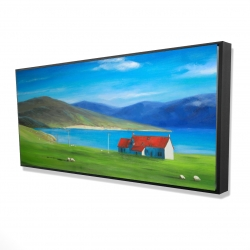 Framed 24 x 48 - 3D - Scottish highlands with a little red roof house
