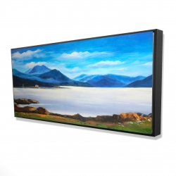 Framed 24 x 48 - 3D - Scottish highlands by a beautiful day