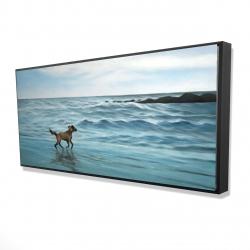 Framed 24 x 48 - 3D - Dog on the beach