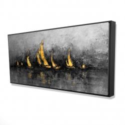 Framed 24 x 48 - 3D - Gold sailboats
