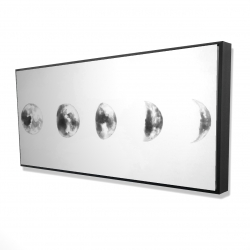 Framed 24 x 48 - 3D - Black and white eclipse