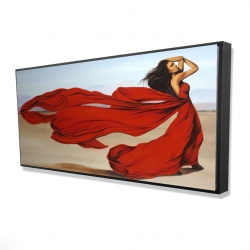 Framed 24 x 48 - 3D - Woman with a long red dress in the desert