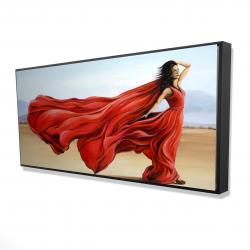 Framed 24 x 48 - 3D - Red dress in the desert