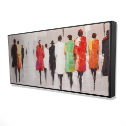 Framed 24 x 48 - 3D - People's silhouette on the street