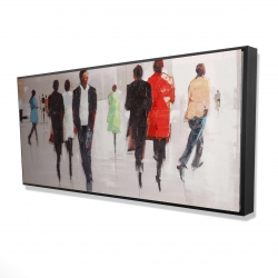 Framed 24 x 48 - 3D -  silhouettes in the street