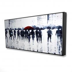 Framed 24 x 48 - 3D - Silhouettes walking in the rain