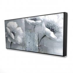 Framed 24 x 48 - 3D - Peaceful black & white flowers