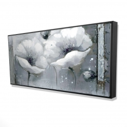 Framed 24 x 48 - 3D - Grayscale flowers
