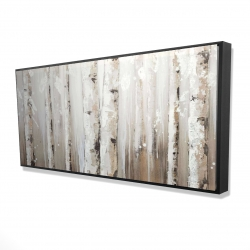 Framed 24 x 48 - 3D - White birches on gray background