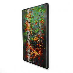 Framed 24 x 48 - 3D - Colorful dotted leaves birches