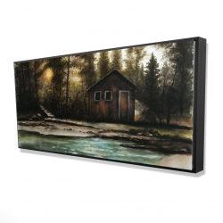 Framed 24 x 48 - 3D - Cabin in the forest