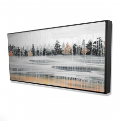 Framed 24 x 48 - 3D - Fall rainy day landscape with trees