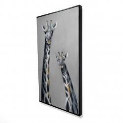 Framed 24 x 48 - 3D - Steel blue giraffe