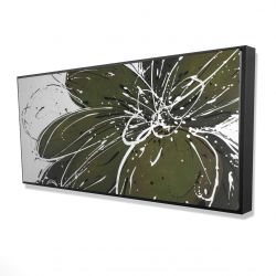 Framed 24 x 48 - 3D - Green flower with splash outline