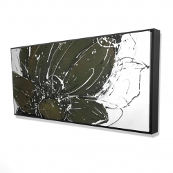 Framed 24 x 48 - 3D - Abstract flower with paint splash