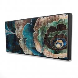 Framed 24 x 48 - 3D - Blue flower montage