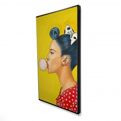 Framed 24 x 48 - 3D - Retro woman with beautiful ponytail