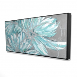 Framed 24 x 48 - 3D - Three little abstract blue flowers