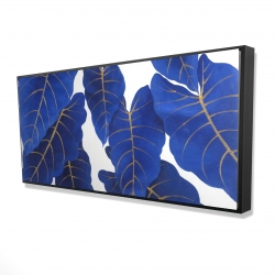 Framed 24 x 48 - 3D - Tropical abstract blue leaves