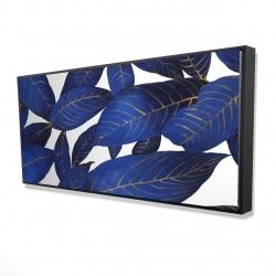 Framed 24 x 48 - 3D - Abstract modern blue leaves
