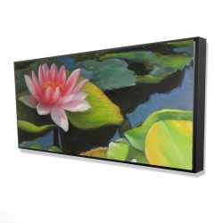 Framed 24 x 48 - 3D - Water lilies and lotus flowers