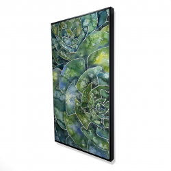 Framed 24 x 48 - 3D - Abstract succulents