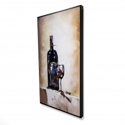 Framed 24 x 48 - 3D - Bottle and a glass of red wine