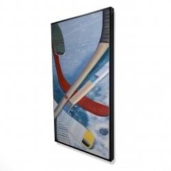 Framed 24 x 48 - 3D - Hockey sticks on ice