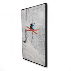 Framed 24 x 48 - 3D - Man skiing in steep offpiste terrain