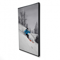 Framed 24 x 48 - 3D - Man skiing in mountain