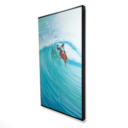 Framed 24 x 48 - 3D - Surfer in the middle of the wave