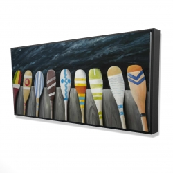 Framed 24 x 48 - 3D - Colorful paddles on the dock