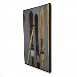 Framed 24 x 48 - 3D - Ski poles and vintage skis