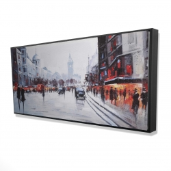 Framed 24 x 48 - 3D - Street scene with cars
