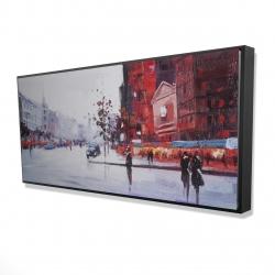 Framed 24 x 48 - 3D - Black and red street scene