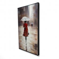 Framed 24 x 48 - 3D - Quiet walk in the rain