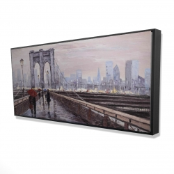 Framed 24 x 48 - 3D - Brooklyn bridge with passersby