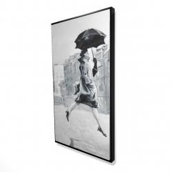 Framed 24 x 48 - 3D - Woman in the rain