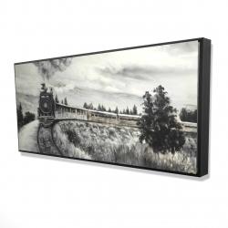 Framed 24 x 48 - 3D - Steam engine train