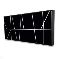Framed 24 x 48 - 3D - White stripes on black background