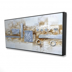 Framed 24 x 48 - 3D - Abstract circles and squares with metal looking finish