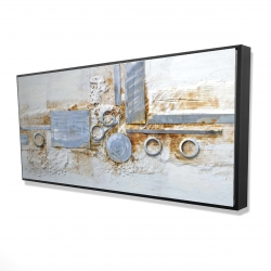 Framed 24 x 48 - 3D - Abstract shape with metal looking finish