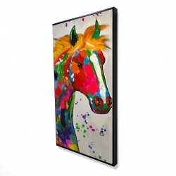 Framed 24 x 48 - 3D - Abstract colorful horse with paint splash