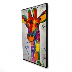 Framed 24 x 48 - 3D - Abstract colorful giraffe with paint splash