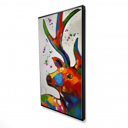 Framed 24 x 48 - 3D - Abstract colorful deer with paint splash